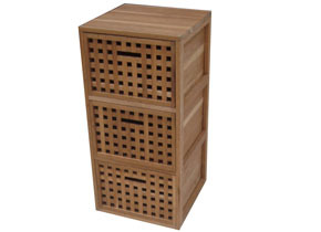 Wooden cabinet and three drawers