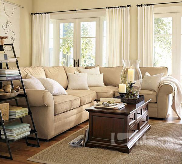 皮尔斯布艺3+2扶手转角沙发 麂皮绒米色
