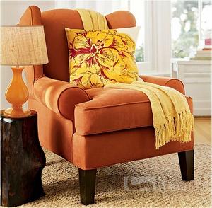 扶手高背椅 麂皮絨橘色