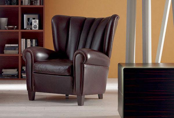 Modern Light Luxury Leather Brown Boss Office Single Sofa Armchair 02