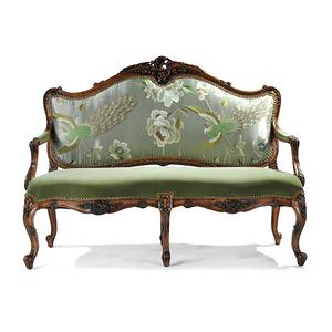 法式古典布沙發傳統實木雕花雙人中式真絲面料孔雀刺繡布藝小沙發