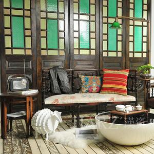 中式新古典布沙發 復古布藝雙人沙發椅子 大花布藝
