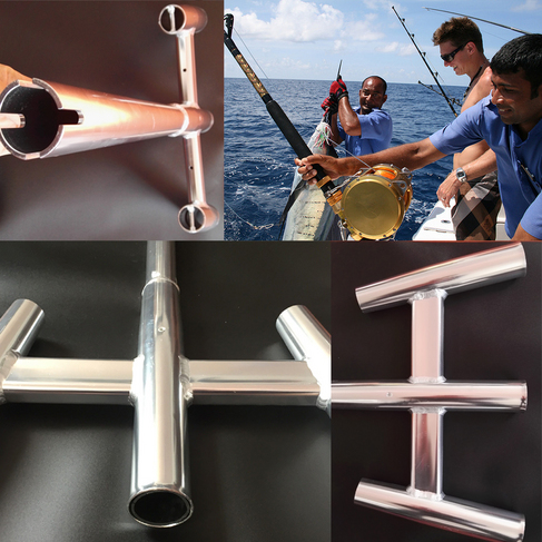铝合金钓杆船竿支架 三头炮台架座深海筏钓支架 游艇专用配件