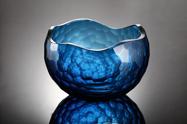 Crystal glass blue irregular table lamp