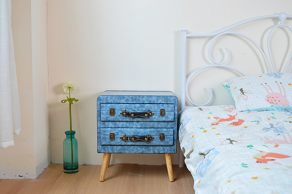 Bedside table blue with two drawers