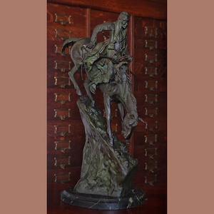 約19世紀晚期美國雕塑名家弗雷德里克·雷明頓銅塑作品《The mountain man》