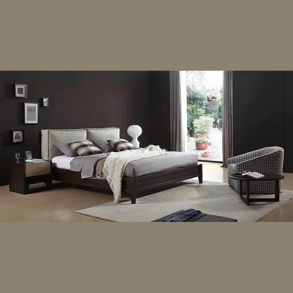 Modern style double solid wood bed