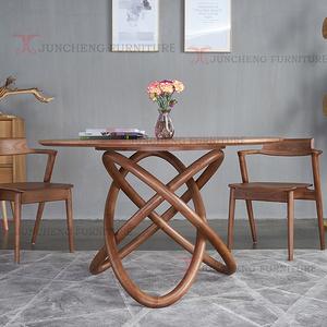 新款北歐實木餐桌 時尚設計白蠟木圓桌餐桌簡約組合桌椅