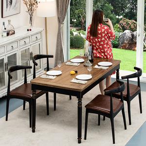 復古做舊老榆木餐桌椅組合現代簡約小戶型多功能家具實木歺飯桌子