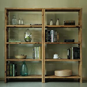 老榆木門板全實木落地書架現代簡約大氣書房書柜置物架陳列架定制
