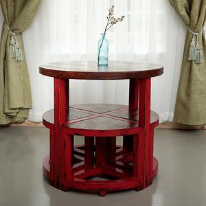 地中海餐桌小戶型歐式圓餐桌椅組合簡約現代茶幾桌子北歐實木家具