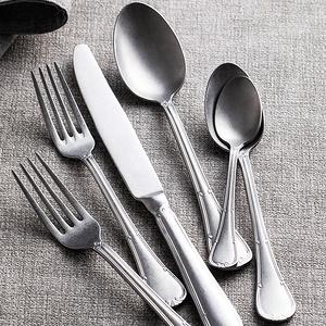 朵頤 便攜式不銹鋼西餐餐具全套家用主餐牛排刀叉套裝帶甜品水果叉銀色復古磨砂湯勺子