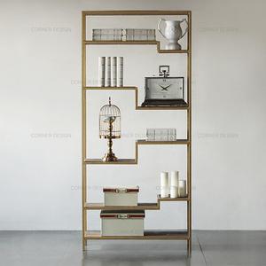 CORNER家具簡易書架落地多層置物架鐵藝實木書柜客廳博古架裝飾架