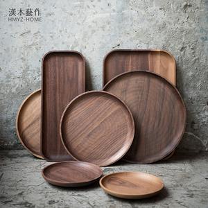 漢木藝作北歐實木托盤長方形圓形方形木盤果盤茶盤置物盤蛋糕餐盤
