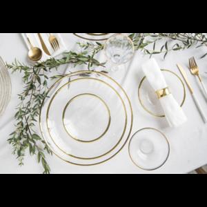 輕奢餐具-圓形金邊錘紋玻璃餐具