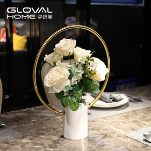 現代輕奢歐式花瓶擺件客廳插花大理石花瓶家居飾品餐桌樣板間擺件