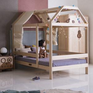 哈木的房間 北歐實木兒童家具 男孩兒童床女孩公主床單人床房子床