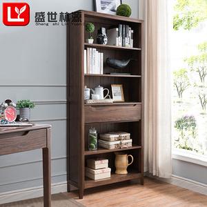 盛世林源北歐實木書柜紅橡木書架簡約現代書柜書房置物架展示柜