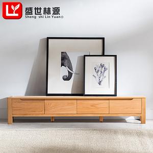盛世林源純實木電視柜北歐現代簡約小戶型客廳家具2米橡木矮地柜