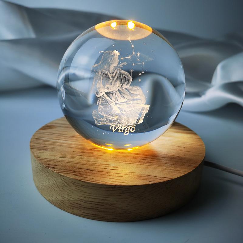 3D十二星座水晶球装饰摆台