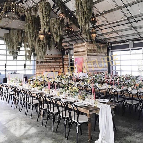 北欧仿实木餐椅现代简约时尚金属弯曲靠背婚礼婚庆宴会椅子 626-H45-ALU(ST)