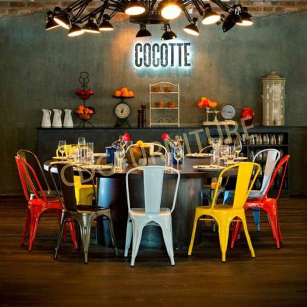 豪华工业风复古咖啡馆店 Tolixs 金属餐饮椅子  618-H45-ST