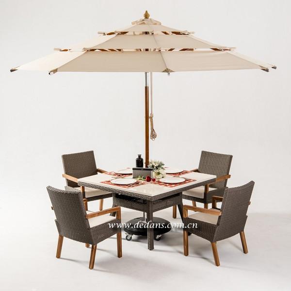 Dedans 户外家具  户外餐桌椅  PE藤 + 柚木