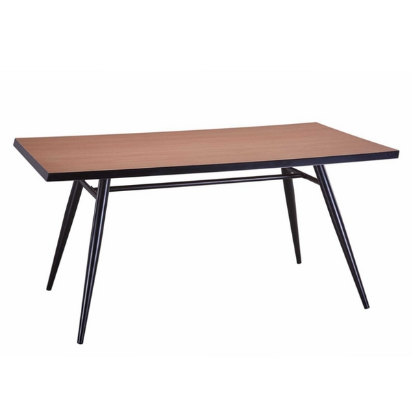 MDF dining table and chair,wood finish,metal with black printing