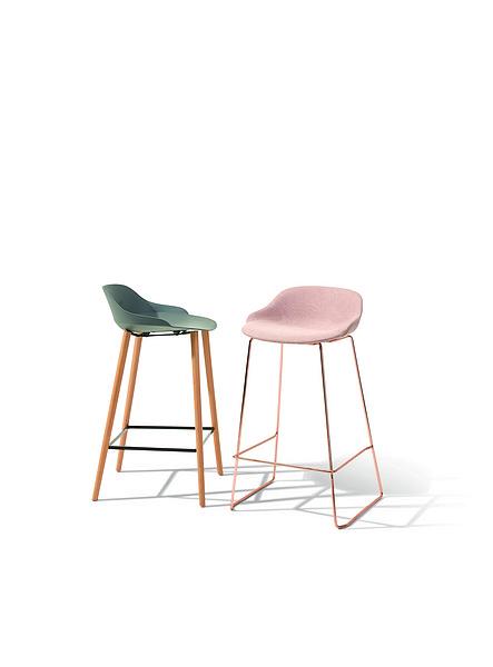 乐时原创设计木脚钢管脚吧椅可软包