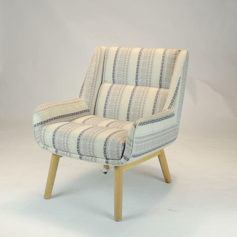 北欧轻奢懒人沙发单人千鸟格胡桃木实木客厅布酒店接待简约休闲椅 S384