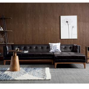 美式現代工業風皮沙發頭層牛皮組合客廳現代簡約黑色轉角皮質沙發