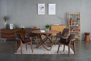 全實木圓形餐桌黑胡桃木餐桌餐飲店桌子中式餐廳家具 T536