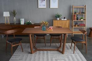 實木餐桌現代簡約商用餐廳長方形吃飯桌子北歐原木餐飲店餐臺餐桌 T529-150