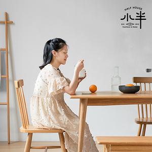 餐桌椅組合家用小戶型全實木白橡木桌子銅腿原木北歐餐桌
