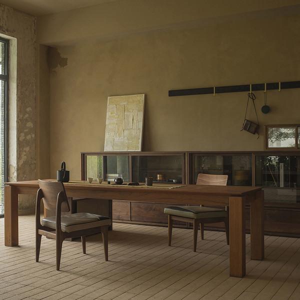 一屿家居  实木厚板立脚茶桌工作台
