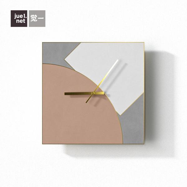 觉一北欧轻奢艺术水泥挂钟静音个性创意时尚装饰方形莫兰迪色钟表