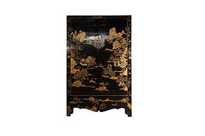 LI-S17-12-152 中式 复古 黑漆  双开门 手绘 描金 衣柜