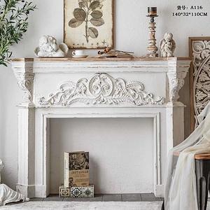仿古歐式白色雕花壁爐框裝飾