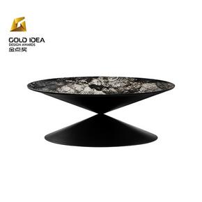十二時慢[月湖茶幾]現代簡約大理石發光客廳茶桌圓形創意設計茶幾
