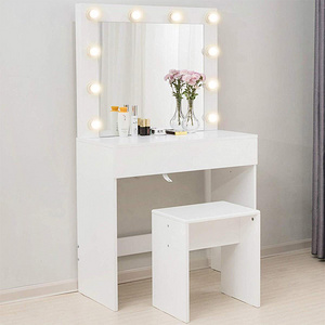 Modern White Led Vanity Dressing Table And Stool Set