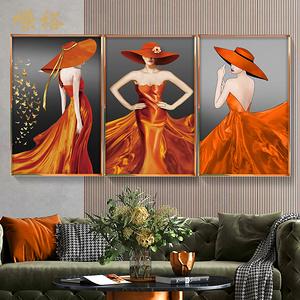 現代輕奢美女裝飾畫