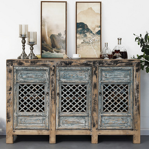 新中式實木復古做舊餐邊柜鏤空柜子隔斷柜玄關柜三門收納柜裝飾柜