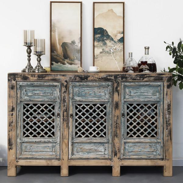 新中式实木复古做旧餐边柜镂空柜子隔断柜玄关柜三门收纳柜装饰柜