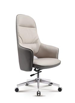 象牙白老板椅书房办公椅带转轮6612A