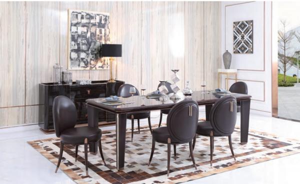 轻奢美式金属餐桌
