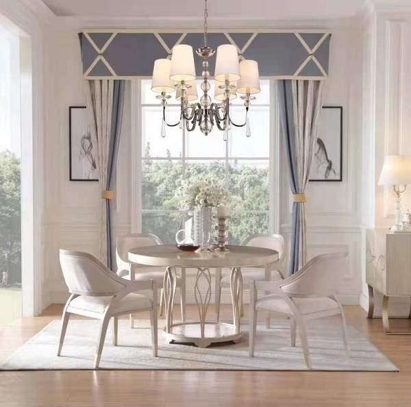 美式轻奢现代美式简美圆形餐桌椅