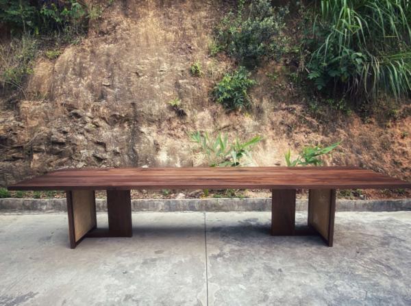 美国黑胡桃+竹编艺大板桌茶桌