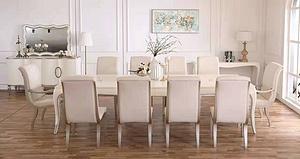 輕奢美式現代美式簡美長餐桌10人桌椅