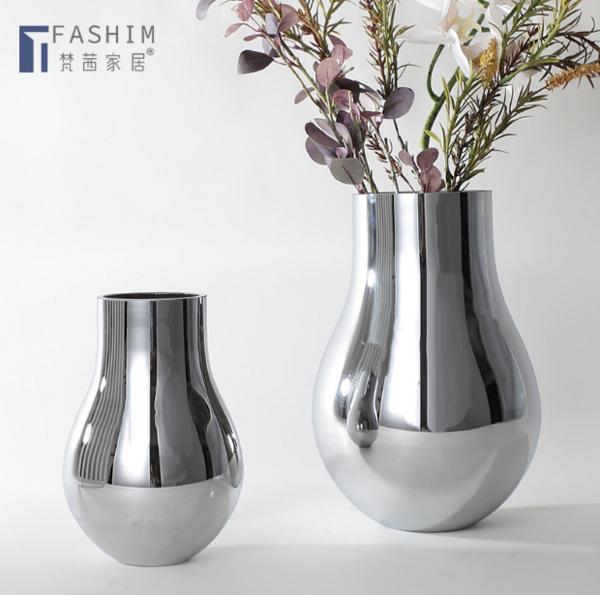 现代轻奢创意镜面银色玻璃花器家居客厅桌面茶几装饰插干花花瓶