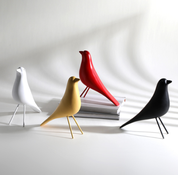 现代简约伊姆斯鸟树脂摆件 样板房电视柜桌面黑白小鸟小摆件饰品
